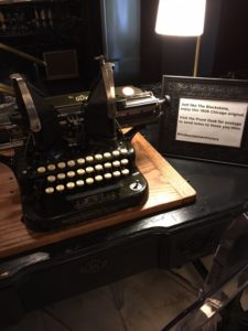 Antique Typewriter in lobby of Blackstone Hotel, one of my favorite writing spots